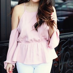 New Pink Peplum Top Cold Shoulder
